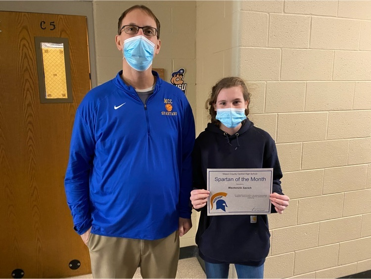 Freshman Spartan of the Month, Mackenzie Savich with nominator, Mr. Weinert. Congratulations, Mackenzie!